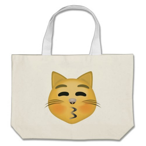 Kissing Cat Face With Closed Eyes Emoji Large Tote Bag