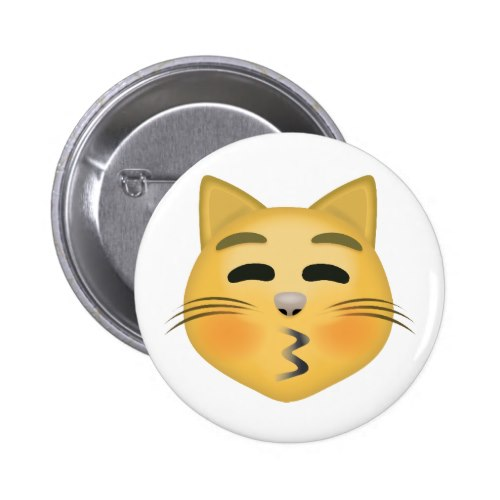 Kissing Cat Face With Closed Eyes Emoji Pinback Button