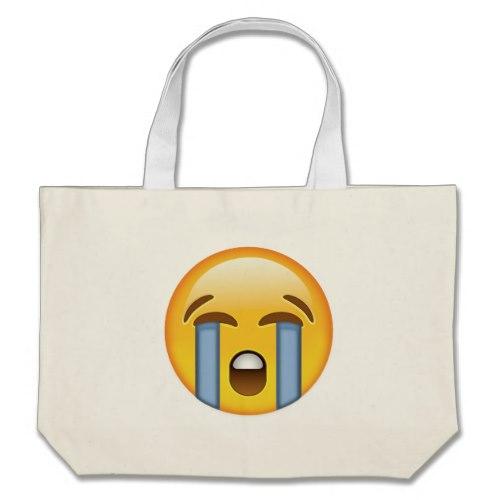 Loudly Crying Face Emoji Large Tote Bag