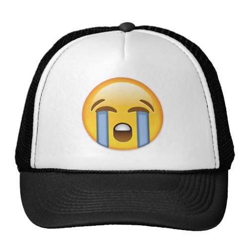 Loudly Crying Face Emoji Trucker Hat