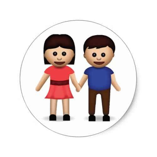 Man And Woman Holding Hands Emoji Classic Round Sticker