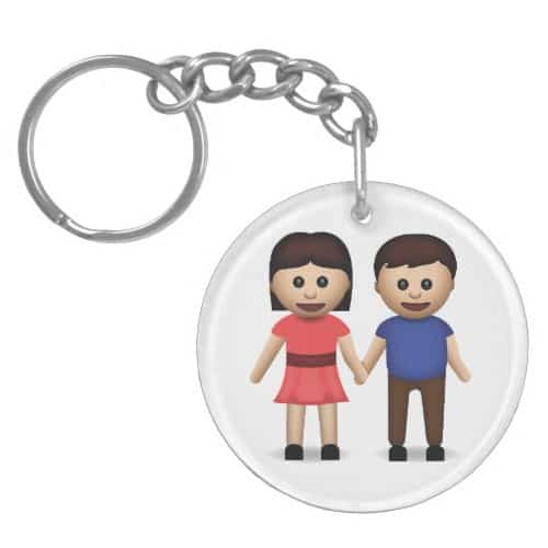 Man And Woman Holding Hands Emoji Keychain