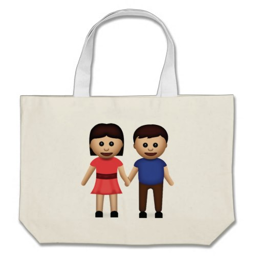 Man And Woman Holding Hands Emoji Large Tote Bag