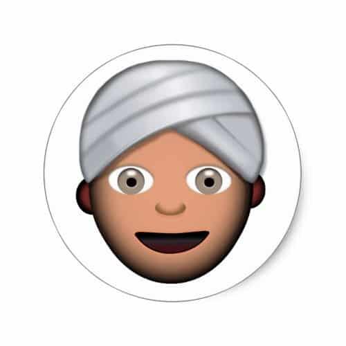 Man With Turban Emoji Classic Round Sticker