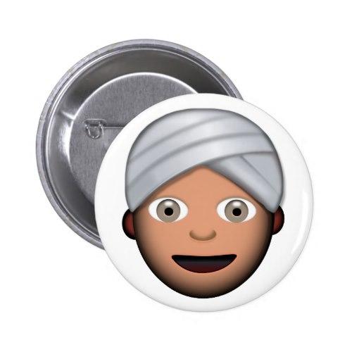 Man With Turban Emoji Pinback Button
