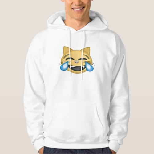 Cat Face With Tears Of Joy Emoji Hoodie for Men