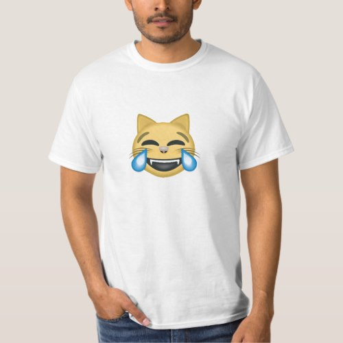 Cat Face With Tears Of Joy Emoji T-Shirt for Men