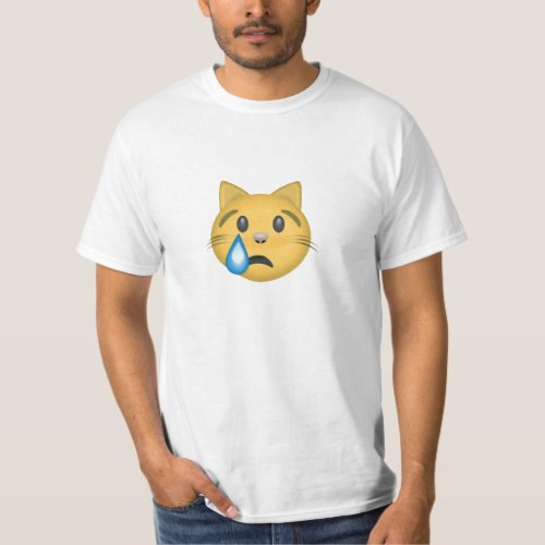 Crying Cat Face Emoji T-Shirt for Men