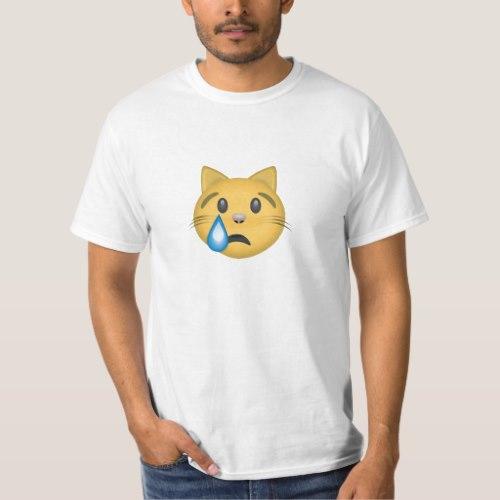 Crying Cat Face Emoji T-Shirt for Men