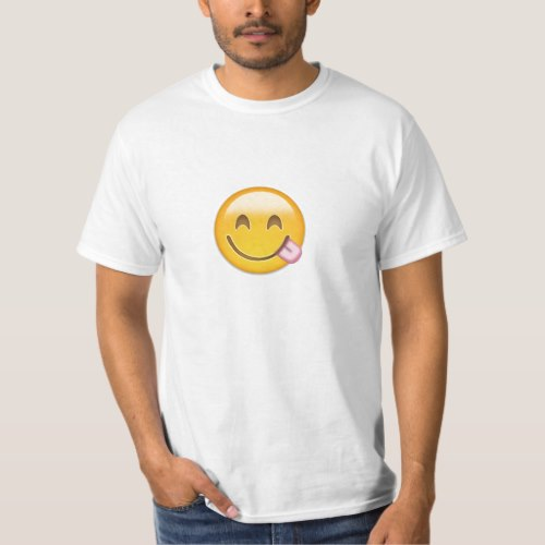 Face Savouring Delicious Food Emoji T-Shirt for Men