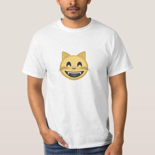 Grinning Cat Face With Smiling Eyes Emoji T-Shirt for Men