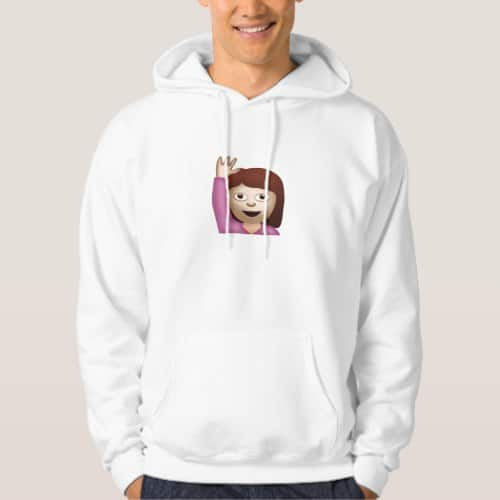 Happy Person Raising One Hand Emoji Hoodie for Men