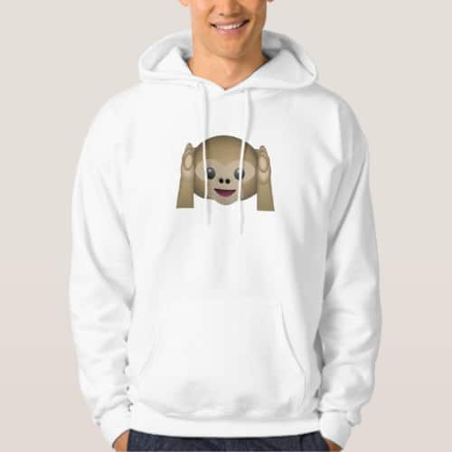 Hear No Evil Monkey Emoji Hoodie for Men