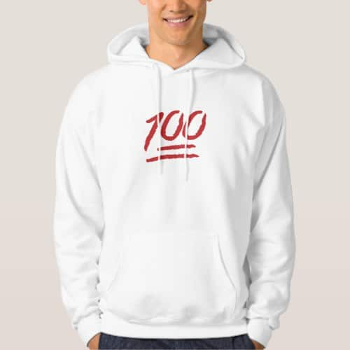 Hundred Points Symbol Emoji Hoodie for Men