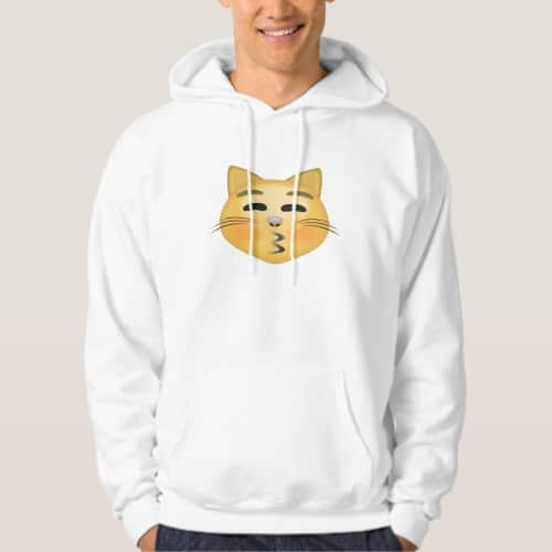 Kissing Cat Face With Closed Eyes Emoji Hoodie for Men