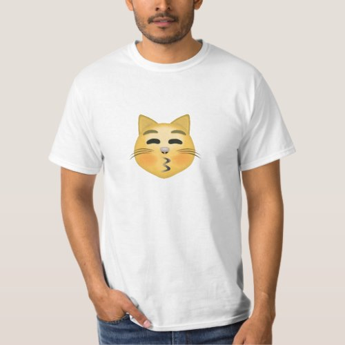 Kissing Cat Face With Closed Eyes Emoji T-Shirt for Men