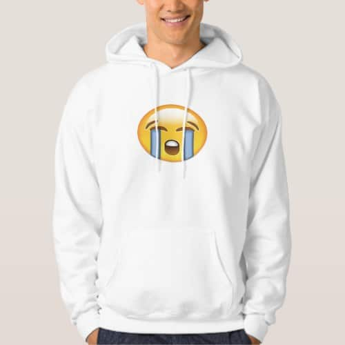 Loudly Crying Face Emoji Hoodie for Men