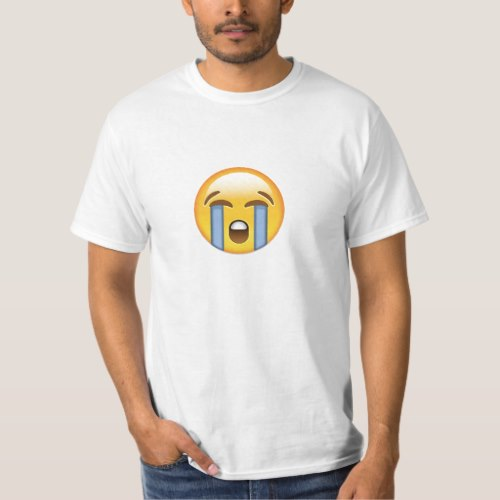 Loudly Crying Face Emoji T-Shirt for Men