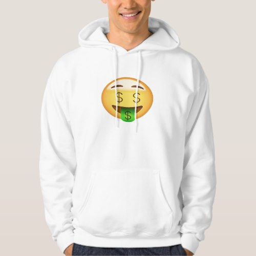 Money-Mouth Face Emoji Hoodie for Men