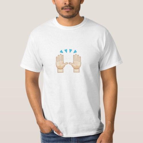 Person Raising Both Hands In Celebration Emoji T-Shirt for Men