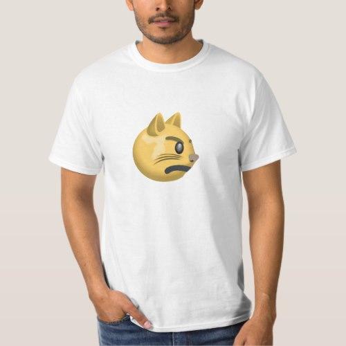Pouting Cat Face Emoji T-Shirt for Men