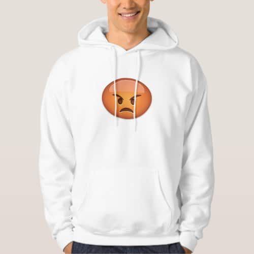 Pouting Face Emoji Hoodie for Men