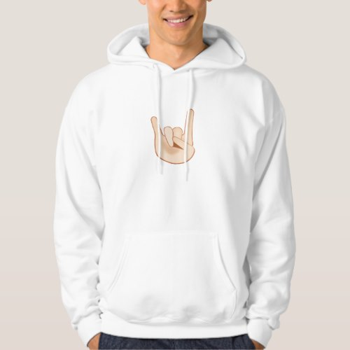 Sign of the Horns Emoji Hoodie for Men