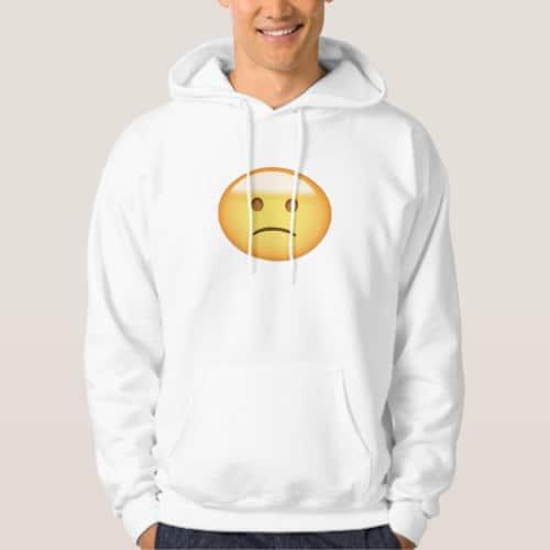 Slightly Frowning Face Emoji Hoodie for Men