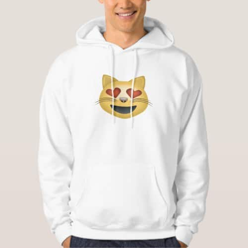 Smiling Cat Face With Heart Shaped Eyes Emoji Hoodie for Men