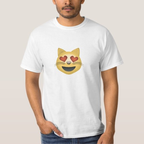 Smiling Cat Face With Heart Shaped Eyes Emoji T-Shirt for Men