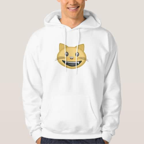 Smiling Cat Face With Open Mouth Emoji Hoodie for Men