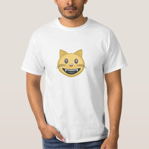 Smiling Cat Face With Open Mouth Emoji T-Shirt for Men