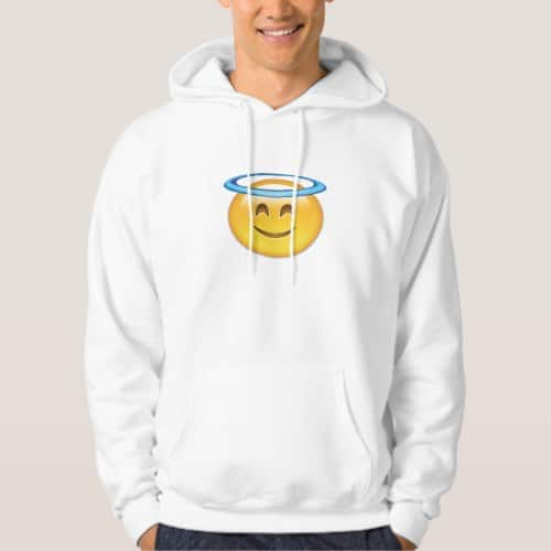 Smiling Face With Halo Emoji Hoodie for Men
