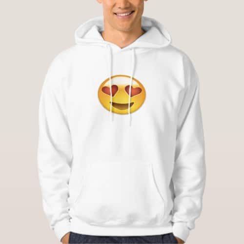 Smiling Face With Heart Shaped Eyes Emoji Hoodie for Men