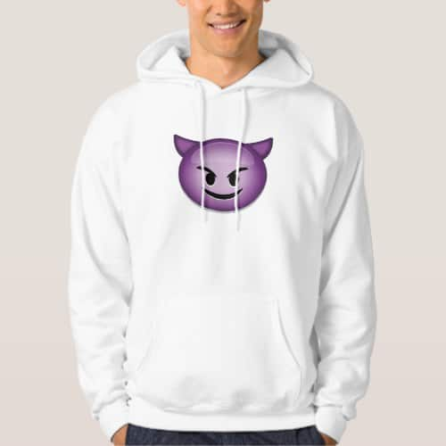 Smiling Face With Horns Emoji Hoodie for Men