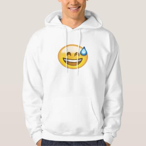 Smiling Face With Open Mouth And Cold Sweat Emoji Hoodie for Men