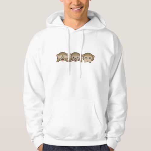 Three Wise Monkeys Emoji Hoodie for Men