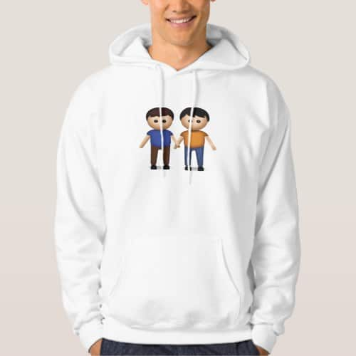 Two Men Holding Hands Emoji Hoodie for Men