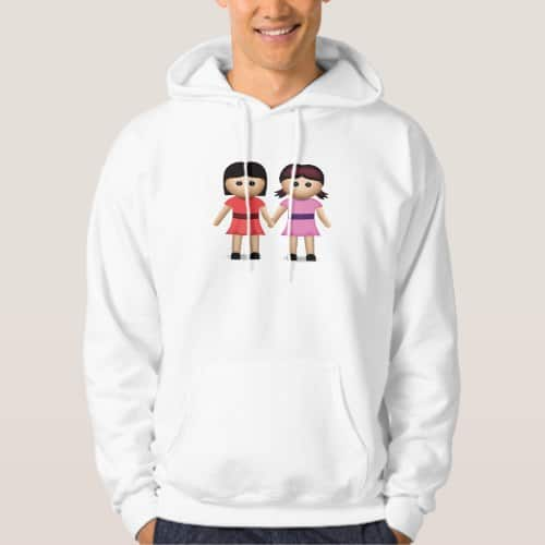 Two Women Holding Hands Emoji Hoodie for Men