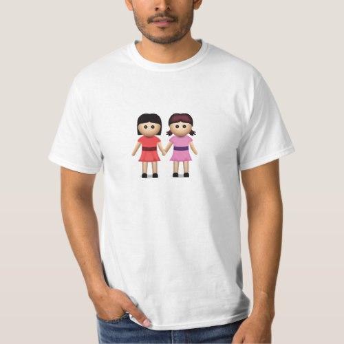 Two Women Holding Hands Emoji T-Shirt for Men