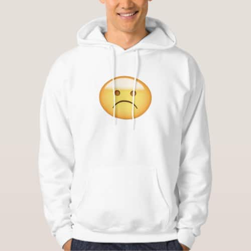 White Frowning Face Emoji Hoodie for Men
