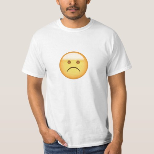 White Frowning Face Emoji T-Shirt for Men