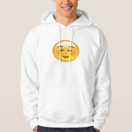 White Smiling Face Emoji Hoodie for Men