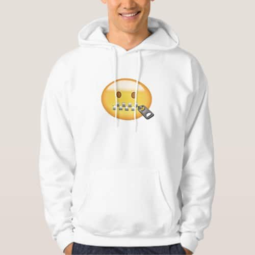 Zipper-Mouth Face Emoji Hoodie for Men