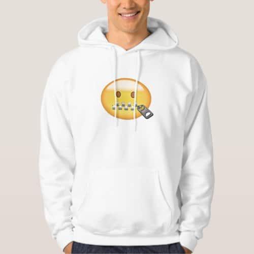 Zipper-Mouth Face Emoji Hoodie for Men