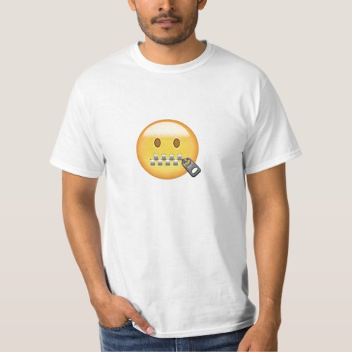 Zipper-Mouth Face Emoji T-Shirt for Men