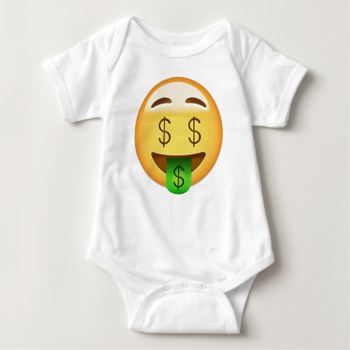 Money-Mouth Face Emoji Baby Bodysuit