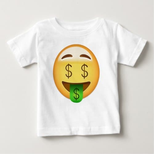 Money-Mouth Face Emoji Baby T-Shirt