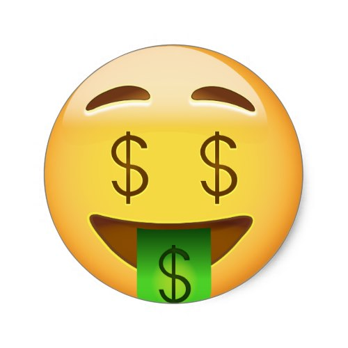 Money-Mouth Face Emoji Classic Round Sticker