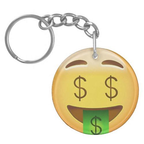 Money-Mouth Face Emoji Keychain